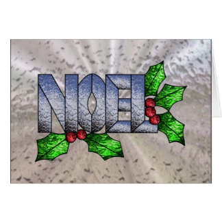 Noel in Glowing Stained Glass Card
