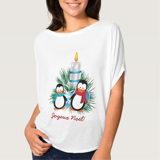 Noël manchots et bougie t-shirt