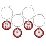 NOEL Merry Christmas Holiday Red And White Wine Glass Charm