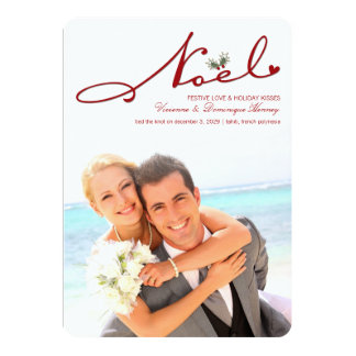Noel Mistletoe Holiday Wedding Announcement Custom Announcements