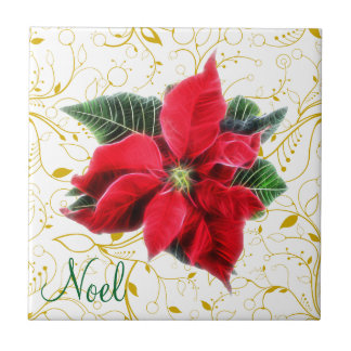 Noel Poinsettia Tile