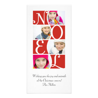NOEL Puzzle in Red Christmas Greeting Card Photo Card