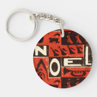 Noel Red Single-Sided Round Acrylic Keychain