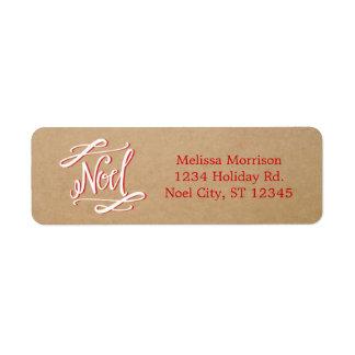 Noel Rustic Vintage Holiday Label Return Address Label