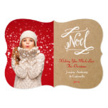 "Noel Rustic Vintage Holiday Photo Card 5"" X 7"" Invitation Card"