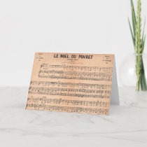 Noel Sheet Music French Christmas Card