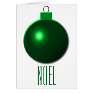 """Noel"" Shiny Green Christmas Ball Ornament Greeting Card"
