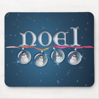 NOEL SNOWMAN GLOBES by SHARON SHARPE Mouse Pad