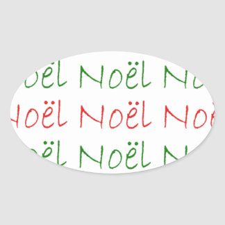 Noel word printed green and red oval sticker