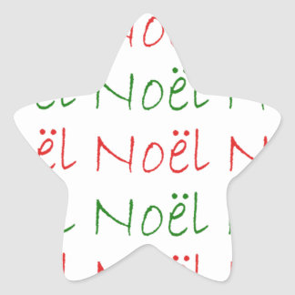 Noel word printed green and red star sticker