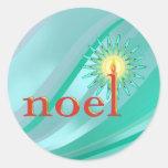 NOEL y VELA de SHARON SHARPE Etiquetas Redondas