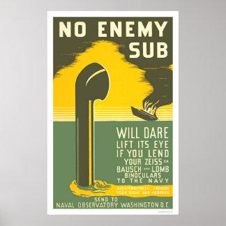 NoEnemy Sub WWII 1942 WPA Poster