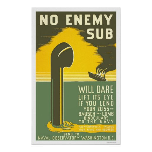NoEnemy Sub WWII 1942 WPA Poster