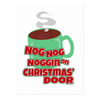 Nogging On Christmas Door Postcard