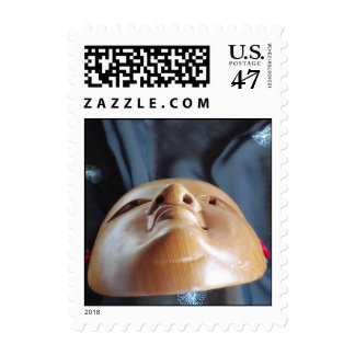 Noh Mask Ko-omote onna-men silk Fab Theater Stamps