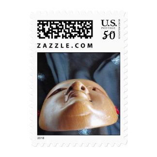 Noh Mask Ko-omote onna-men silk Fab Theater Stamps