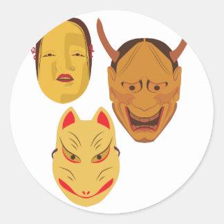 Noh Masks Classic Round Sticker