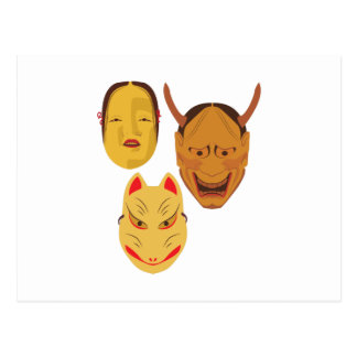 Noh Masks Postcard