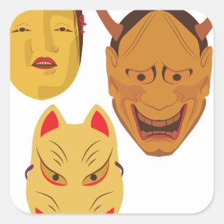 Noh Masks Square Sticker
