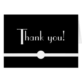 Noir Chic Black and White Art Deco Thank You Card