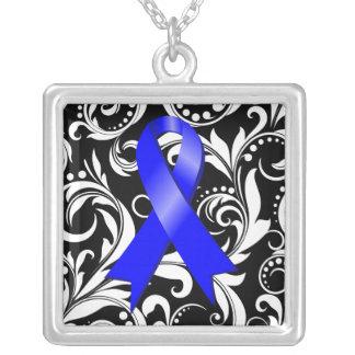 Noir floral de Deco de la cinta del cáncer de Collar Plateado