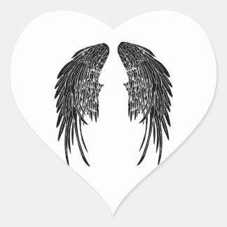 Noires de Ailes Calcomanía Corazón