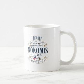 Nokomis, Illinois 150th Anniversary White T-Shirt Coffee Mug