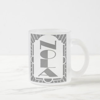 NOLA Art Deco Square In Gray, Frosted Glass Coffee Mug