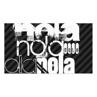 Nola; Black & Dark Gray Stripes Business Card