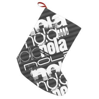 Nola; Black & Dark Gray Stripes Small Christmas Stocking