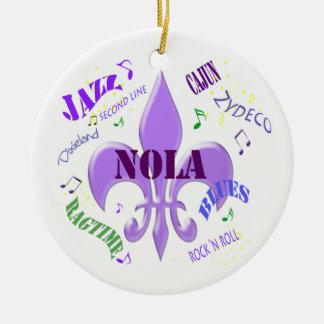 NOLA Fleur de Lis New Orleans Music Ceramic Ornament