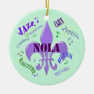 NOLA Fleur de Lis New Orleans Music  (green) Ceramic Ornament
