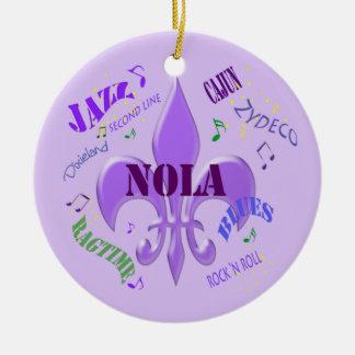 NOLA Fleur de Lis New Orleans Music  (purple) Ceramic Ornament