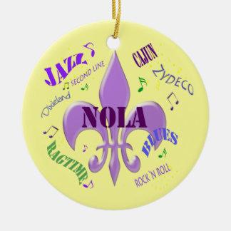 NOLA Fleur de Lis New Orleans Music  (yellow) Ceramic Ornament