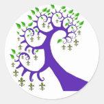 NOLA FLEUR DE LIS TREE ROUND STICKER