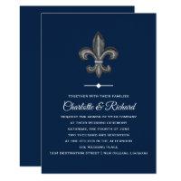 Nola Gray & Navy French Fleur De Lis Wedding Invitation