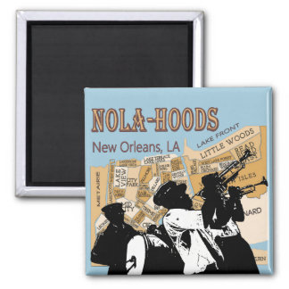 Nola Hoods Brass Band 2 Inch Square Magnet