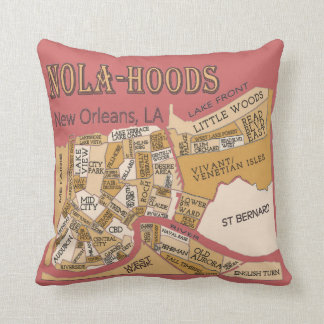Nola-Hoods, New Orleans Neighborhood Maps, Throw Pillow
