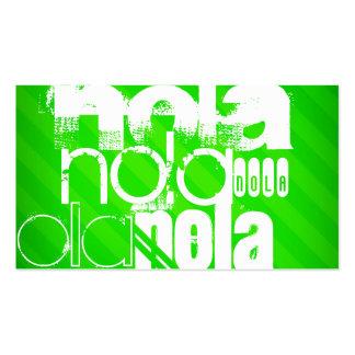 NOLA; Neon Green Stripes Business Card