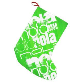 NOLA; Neon Green Stripes Small Christmas Stocking