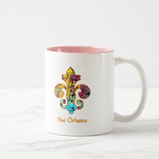 NOLA Painted Fleur de lis (4) Coffee Mugs
