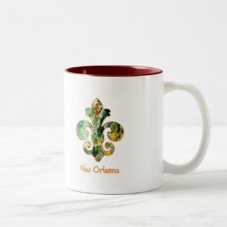 NOLA Painted Fleur de lis (6) Two-Tone Coffee Mug
