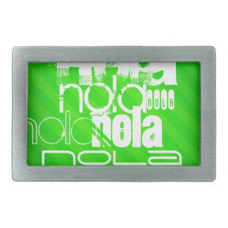 NOLA; Rayas verdes de neón Hebilla Cinturon Rectangular
