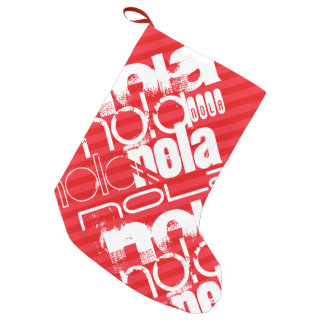 Nola; Scarlet Red Stripes Small Christmas Stocking