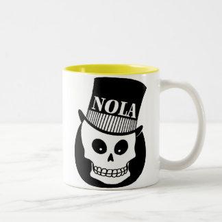 NOLA Skull In Top Hat Two-Tone Coffee Mug