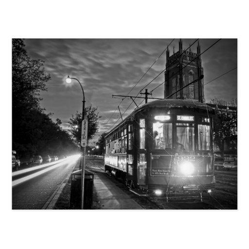 NOLA Streetcar at Night Postcard