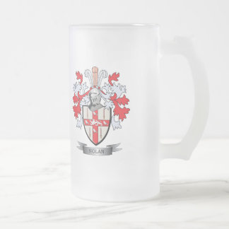 Nolan Coat of Arms Frosted Glass Beer Mug