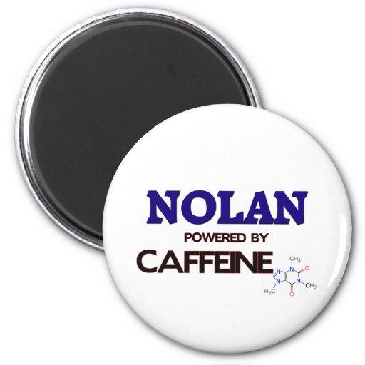 Nolan powered by caffeine 2 inch round magnet