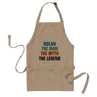 Nolan the man, the myth, the legend adult apron