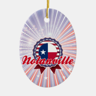 Nolanville, TX Double-Sided Oval Ceramic Christmas Ornament